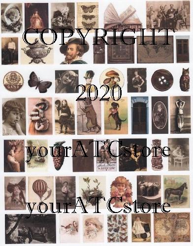 yourATCstore Artist Trading Card Collage Sheet - Brown