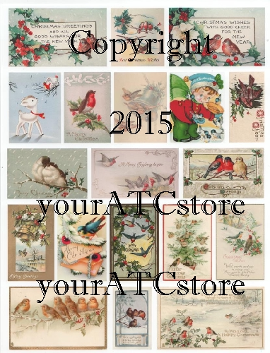 yourATCstore Christmas Birds 3 Collage Sheet