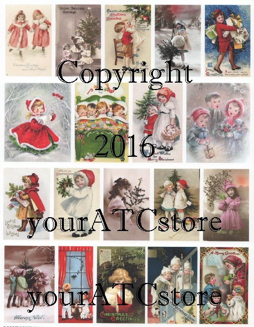 yourATCstore Christmas Little Children Collage Sheet #2
