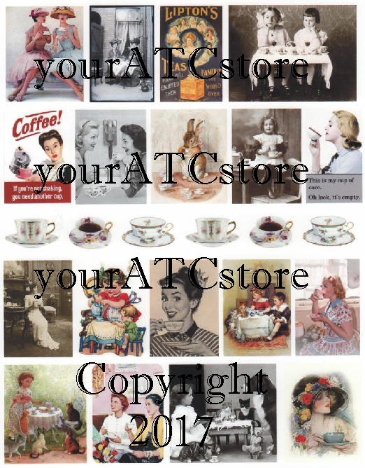 yourATCstore Coffee or Tea Anyone? Collage Sheet #2