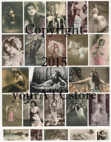 yourATCstore Enchanted Goddesses Collage Sheet #3