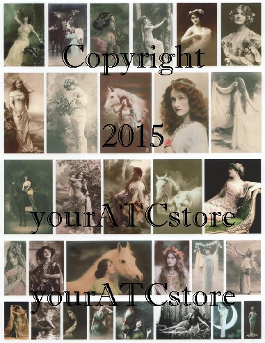 yourATCstore Enchanted Goddesses Collage Sheet #5