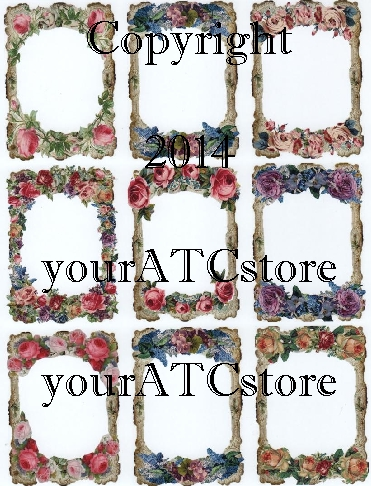 yourATCstore Flower Frame ATCs Glossy Collage Sheet