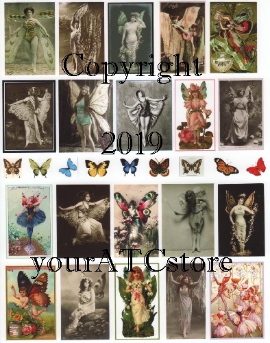 yourATCstore Flutter, Butterfly Girls! Collage Sheet #3