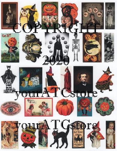 yourATCstore Fun Halloween Ephemera Collage Sheet #3