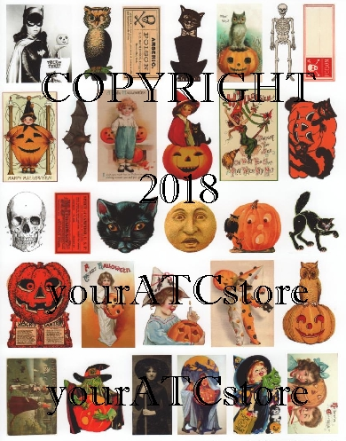 yourATCstore Fun Halloween Ephemera Collage Sheet #2