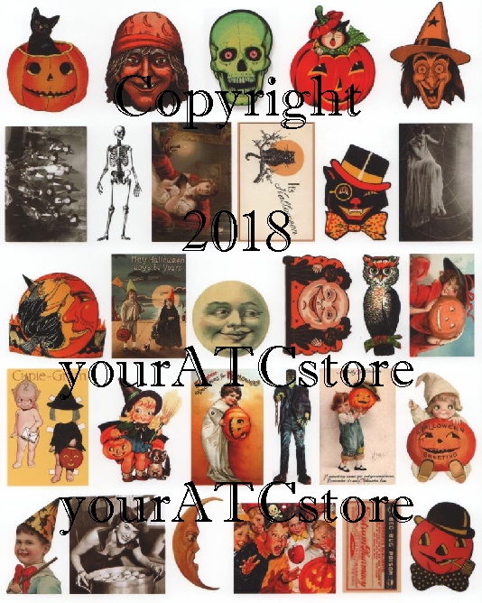 yourATCstore Fun Halloween Ephemera Collage Sheet #1