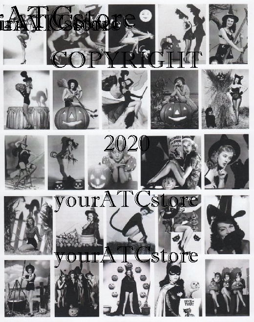 yourATCstore Fun Retro Halloween Gals Collage Sheet