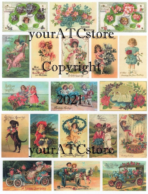 yourATCstore Happy Birthday Greetings Glossy Collage Sheet