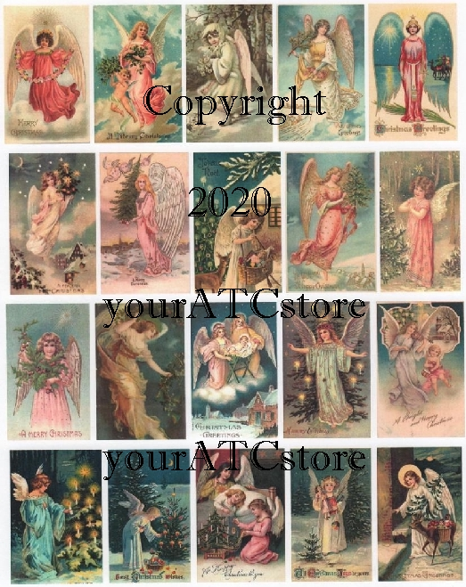 yourATCstore Heavenly Christmas Angels Collage Sheet