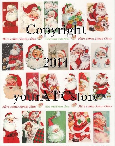 yourATCstore Here Comes Santa Claus Christmas Collage Sheet