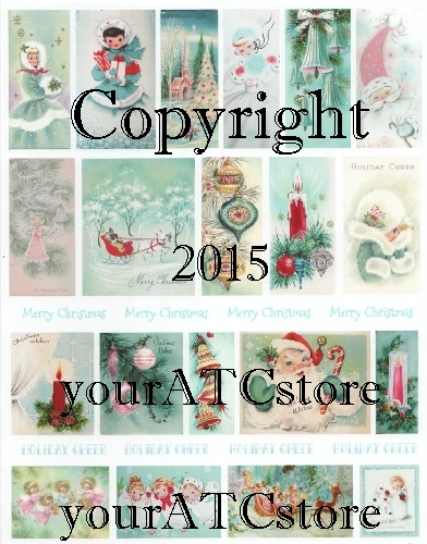 yourATCstore It's an Aqua Green Christmas Collage Sheet