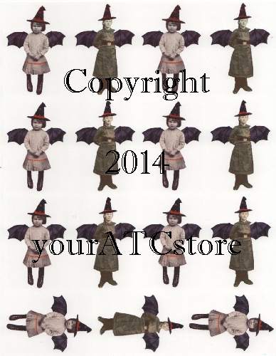 yourATCstore Halloween Little Witch Girls Collage Sheet