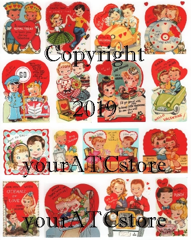 yourATCstore My Childhood Lovers Valentines Collage Sheet