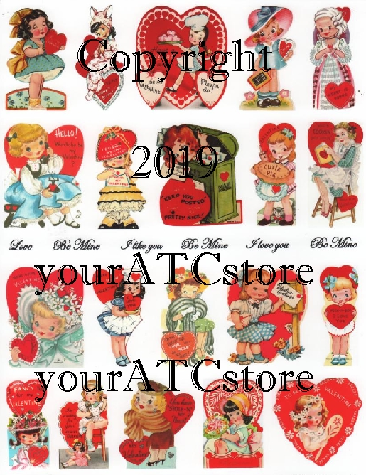 yourATCstore My Childhood Valentines Collage Sheet #3