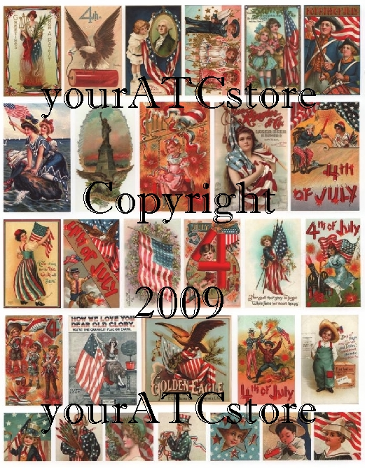 yourATCstore Ol' Glory Independence Day Collage Sheet
