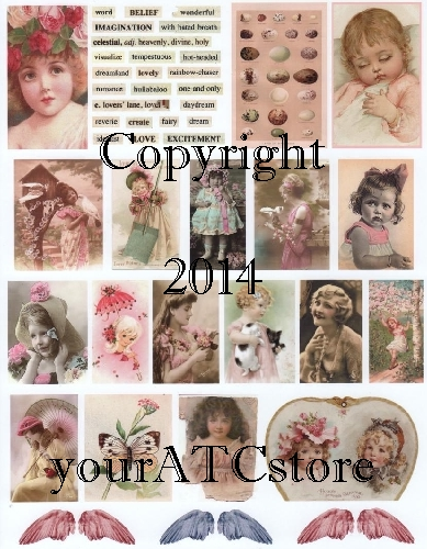 yourATCstore Artist Trading Card Collage Pale Pink Beauties
