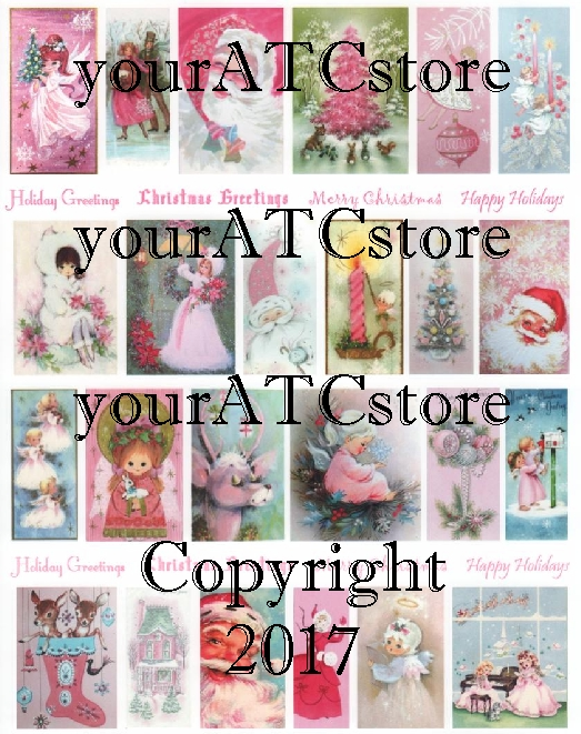 yourATCstore Pretty Pink Christmas Collage Sheet
