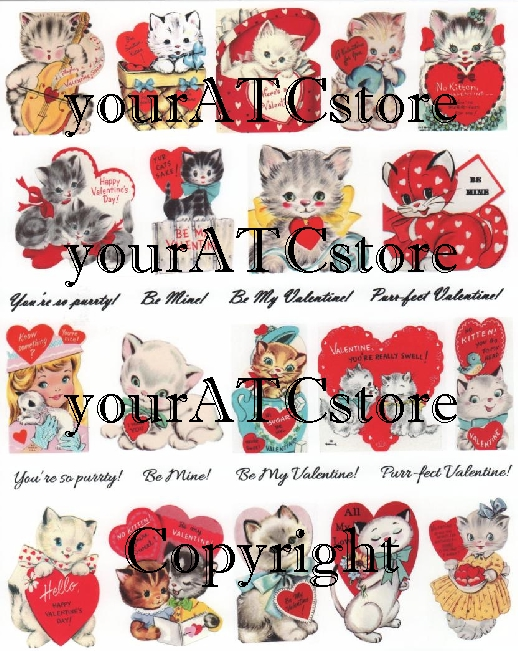 yourATCstore Puurrfect Valentine Cats Collage Sheet
