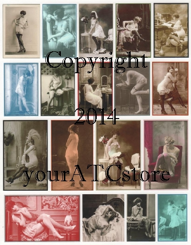 yourATCstore Risque French Beauties Collage Sheet