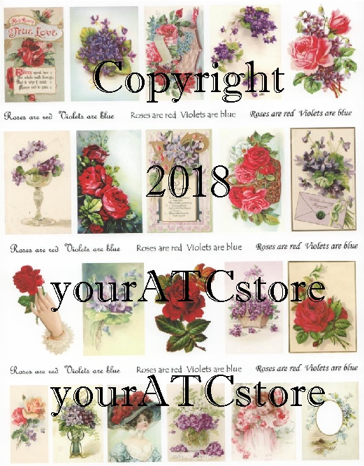 yourATCstore Roses are Red, Violets are Blue Collage Sheet	#2