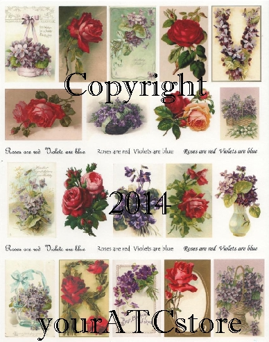 yourATCstore Roses are Red, Violets are Blue Collage Sheet #1
