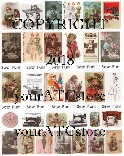 yourATCstore Sew Fun! Vintage Sewing Collage Sheet #2