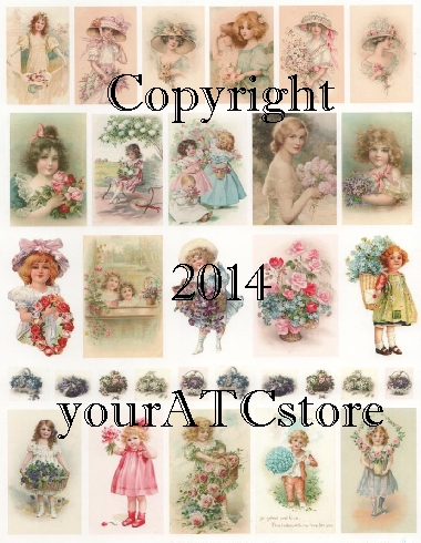 yourATCstore Spring Pastel Flower Beauties Collage Sheet