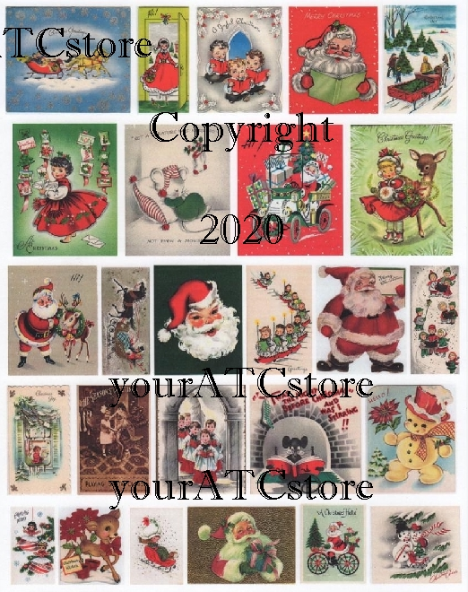 yourATCstore Vintage Christmas Cards Collage Sheet