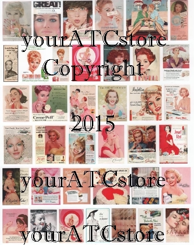 yourATCstore Vintage Retro Make-up Beauties Collage Sheet