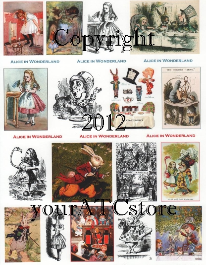 yourATCstore Alice in Wonderland #2 Collage Sheet