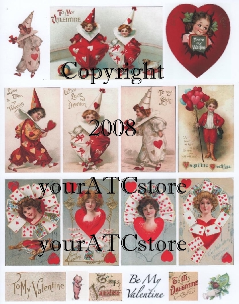 yourATCstore Be My Valentine Collage Sheet #1