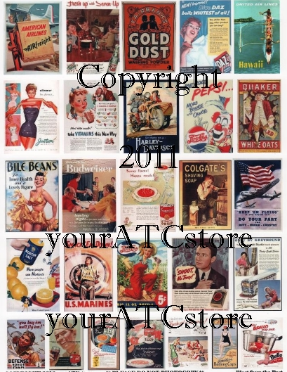 yourATCstore Blast from the Past Advertising Collage Sheet #1