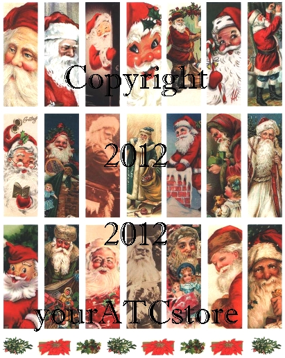 "yourATCstore 1"" x 3"" Christmas Santas Microscope Collage Sheet 2"