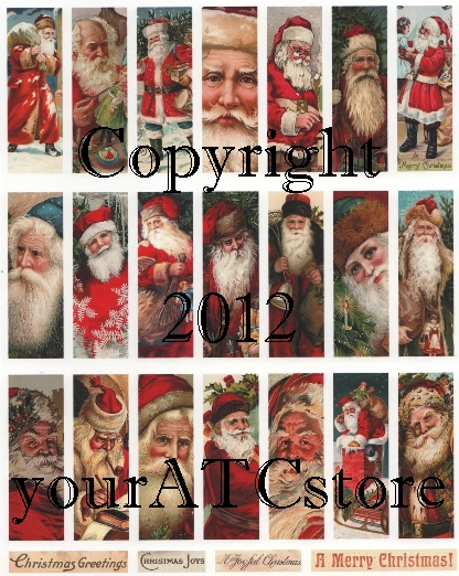 "yourATCstore 1"" x 3"" Christmas Santas Microscope Collage Sheet 1"