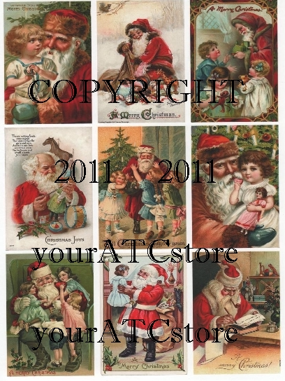 yourATCstore Christmas Santa ATCs Collage Sheet