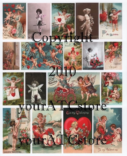 yourATCstore Cupid's of Love 1 Collage Sheet