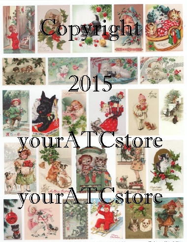 yourATCstore Dog & Cat Christmas Collage Sheet