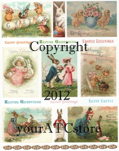 yourATCstore Easter Artist Trading Card Collage Sheet