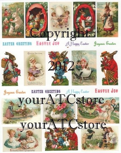 yourATCstore Easter Bunny Greetings Collage Sheet