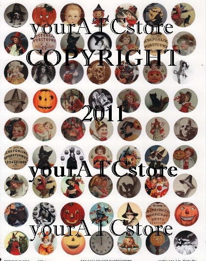 yourATCstore Halloween Circle Pix Collage Sheet - Matte