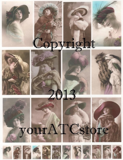 yourATCstore Hats, Hats and More Hats #2 Collage Sheet