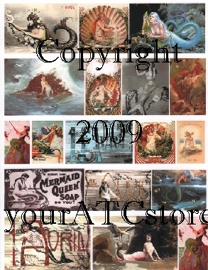 yourATCstore Mermaid Beauties from the Sea #1 Collage Sheet