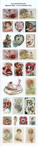 yourATCstore Ephemera Minis - Love on Valentine's Day Glossy