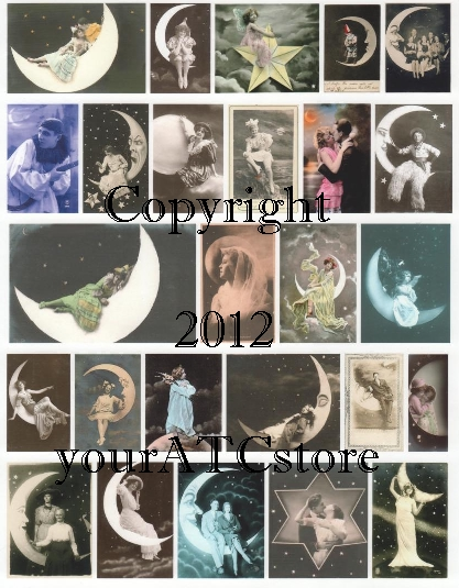 yourATCstore Over the Moon & Under the Stars Collage Sheet #1
