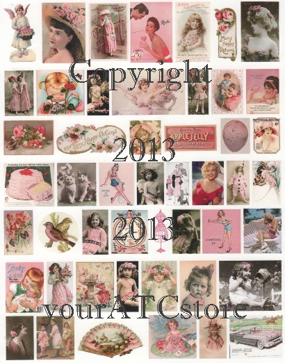 yourATCstore Artist Trading Card Collage Sheet - Pink #2