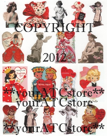 yourATCstore Valentine Queens, Cupids & Cuties Collage Sheet