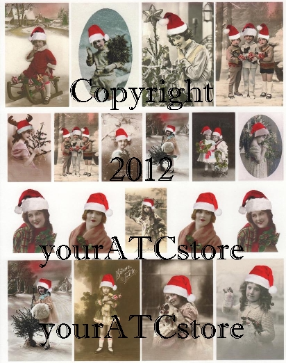 yourATCstore Christmas Santa Babies Collage Sheet