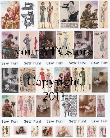 yourATCstore Sew Fun! Vintage Sewing Collage Sheet #1