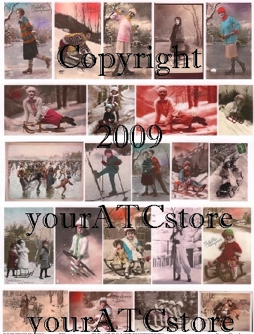 yourATCstore Snow Fun 1 Collage Sheet